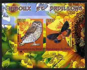 Benin 2007 Butterflies & Owls #1 imperf s/sheet containing 2 values unmounted mint. Note this item is privately produced and is offered purely on its thematic appeal