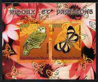 Benin 2007 Butterflies & Owls #2 imperf s/sheet containing 2 values unmounted mint. Note this item is privately produced and is offered purely on its thematic appeal
