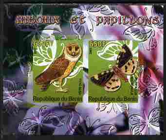 Benin 2007 Butterflies & Owls #3 imperf s/sheet containing 2 values unmounted mint. Note this item is privately produced and is offered purely on its thematic appeal