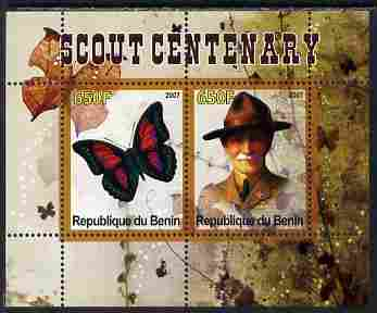 Benin 2007 Scout Centenary & Butterflies #1 perf s/sheet containing 2 values unmounted mint. Note this item is privately produced and is offered purely on its thematic appeal