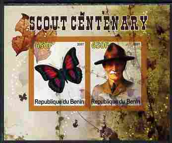 Benin 2007 Scout Centenary & Butterflies #1 imperf s/sheet containing 2 values unmounted mint. Note this item is privately produced and is offered purely on its thematic appeal