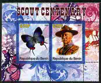 Benin 2007 Scout Centenary & Butterflies #2 perf s/sheet containing 2 values unmounted mint. Note this item is privately produced and is offered purely on its thematic appeal