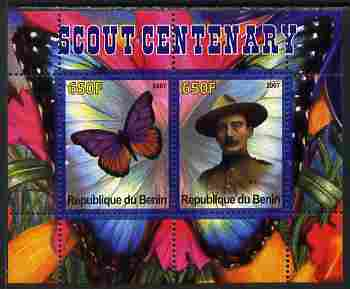 Benin 2007 Scout Centenary & Butterflies #3 perf s/sheet containing 2 values unmounted mint. Note this item is privately produced and is offered purely on its thematic appeal