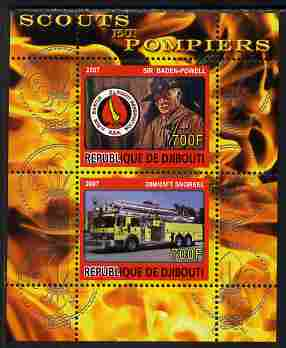 Djibouti 2007 Scouts & Fire Engines #1 perf s/sheet containing 2 values unmounted mint. Note this item is privately produced and is offered purely on its thematic appeal