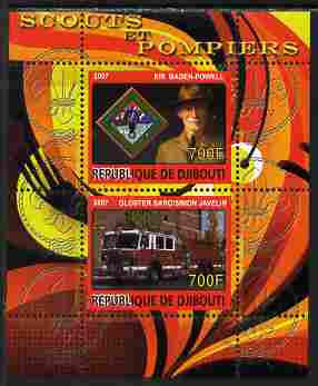 Djibouti 2007 Scouts & Fire Engines #2 perf s/sheet containing 2 values unmounted mint. Note this item is privately produced and is offered purely on its thematic appeal