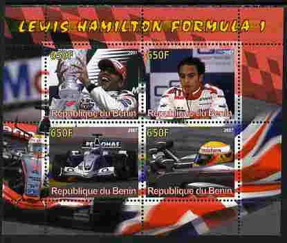 Benin 2007 Lewis Hamilton Formula 1 perf sheetlet containing 4 values unmounted mint. Note this item is privately produced and is offered purely on its thematic appeal