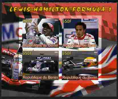 Benin 2007 Lewis Hamilton Formula 1 imperf sheetlet containing 4 values unmounted mint. Note this item is privately produced and is offered purely on its thematic appeal