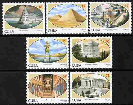 Cuba 1997 Seven Wonders of the Ancient World perf set of 7 values unmounted mint, SG 4177-83