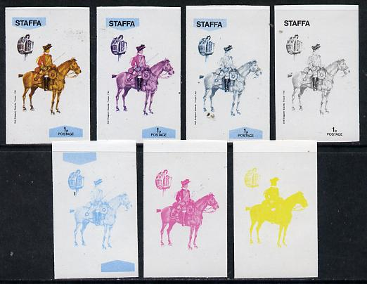 Staffa 1974 Military Uniforms (on Horseback) 1p (2nd Dragoons 1760) set of 7 imperf progressive colour proofs comprising the 4 individual colours plus 2, 3 and all 4-colour composites unmounted mint