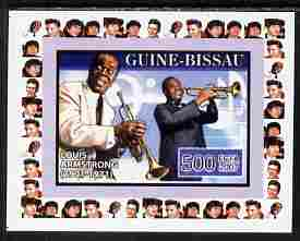 Guinea - Bissau 2007 Music Stars - Louis Armstrong individual imperf deluxe sheet unmounted mint. Note this item is privately produced and is offered purely on its thematic appeal, similar to Yv 2318