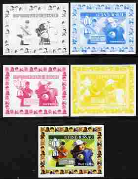Guinea - Bissau 2007 Sportsmen of the Century - Tiger Woods individual deluxe sheet - the set of 5 imperf progressive proofs comprising the 4 individual colours plus all 4-colour composite, unmounted mint, similar to Yv 2283