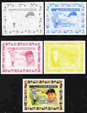 Guinea - Bissau 2007 Sportsmen of the Century - Babe Ruth individual deluxe sheet - the set of 5 imperf progressive proofs comprising the 4 individual colours plus all 4-colour composite, unmounted mint  similar to Yv 2284