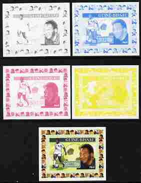 Guinea - Bissau 2007 Sportsmen of the Century - Pele individual deluxe sheet - the set of 5 imperf progressive proofs comprising the 4 individual colours plus all 4-colour composite, unmounted mint similar to Yv 2285