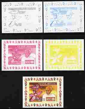 Guinea - Bissau 2007 Humanitarians #2 - Mahatma Gandhi & Orchid individual deluxe sheet - the set of 5 imperf progressive proofs comprising the 4 individual colours plus all 4-colour composite, unmounted mint