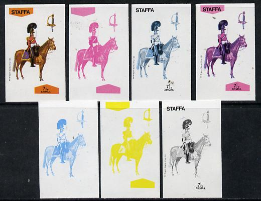 Staffa 1974 Military Uniforms (on Horseback) 7.5p (5th Dragoons 1851) set of 7 imperf progressive colour proofs comprising the 4 individual colours plus 2, 3 and all 4-colour composites unmounted mint