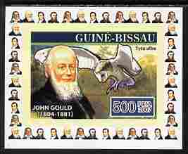 Guinea - Bissau 2007 Ornithologists #3 - John Gould individual imperf deluxe sheet unmounted mint. Note this item is privately produced and is offered purely on its thematic appeal, as Yv 2316, stamps on personalities, stamps on birds, stamps on birds of prey, stamps on owls