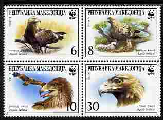 Macedonia 2001 WWF - Imperial Eagle perf set of 4 in se-tenant block unmounted mint SG 319-22