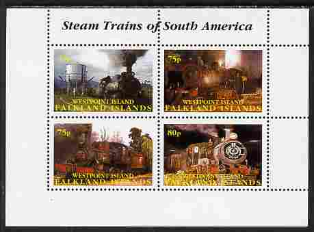 Westpoint Island (Falkland Islands) 2001 Steam Trains of South America perf sheetlet containing 4 values unmounted mint. Note this item is privately produced and is offered purely on its thematic appeal, it has no postal validity