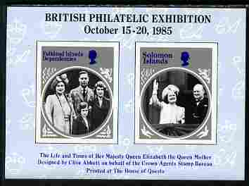 Cinderella - 1985 British Philatelic Exhibition imperf sheetlet containing 2 black & white images of the Queen Mother (Falkland Island Deps & Solomon Islands designs)