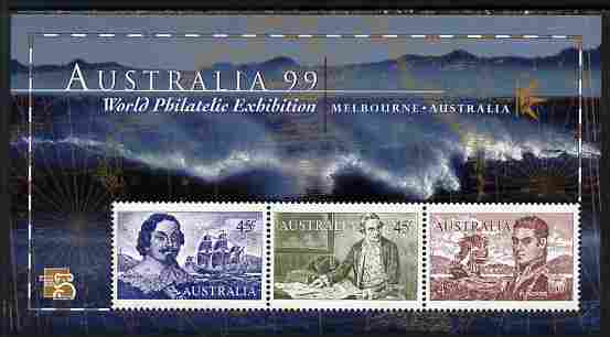 Australia 1999 Australia '99 Stamp Exhibition perf m/sheet #1 containing 3 x 45c Navigator stamps depicting Tasman, Cook & Flinders unmounted mint SG MS 1852a