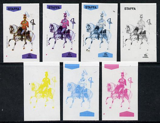 Staffa 1974 Military Uniforms (on Horseback) 15p (Taplow Lancers 1870) set of 7 imperf progressive colour proofs comprising the 4 individual colours plus 2, 3 and all 4-colour composites unmounted mint