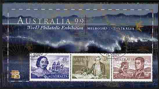 Australia 1999 Australia '99 Stamp Exhibition perf m/sheet #1 containing 3 x 45c Navigator stamps depicting Tasman, Cook & Flinders fine cds used SG MS 1852a