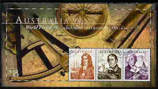 Australia 1999 Australia '99 Stamp Exhibition perf m/sheet #2 containing 3 x 45c Navigator stamps depicting Dampier, King & Bass fine cds used SG MS 1852b