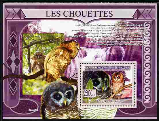 Guinea - Conakry 2009 Owls perf s/sheet unmounted mint