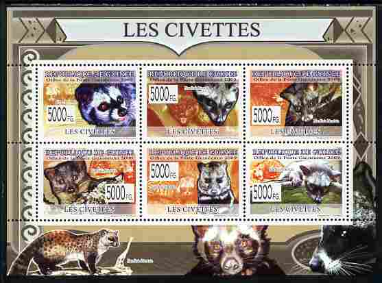 Guinea - Conakry 2009 Civets perf sheetlet containing 6 values unmounted mint