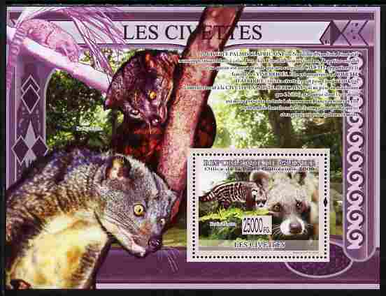 Guinea - Conakry 2009 Civets perf s/sheet unmounted mint