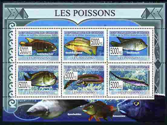 Guinea - Conakry 2009 Fish perf sheetlet containing 6 values unmounted mint
