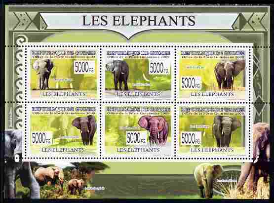 Guinea - Conakry 2009 Elephants perf sheetlet containing 6 values unmounted mint