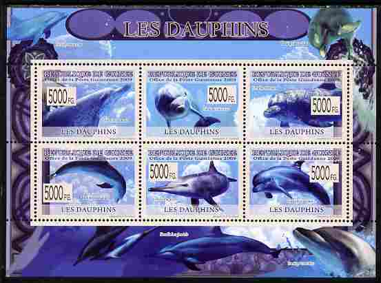 Guinea - Conakry 2009 Dolphins perf sheetlet containing 6 values unmounted mint