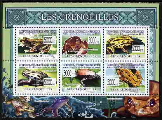 Guinea - Conakry 2009 Frogs perf sheetlet containing 6 values unmounted mint