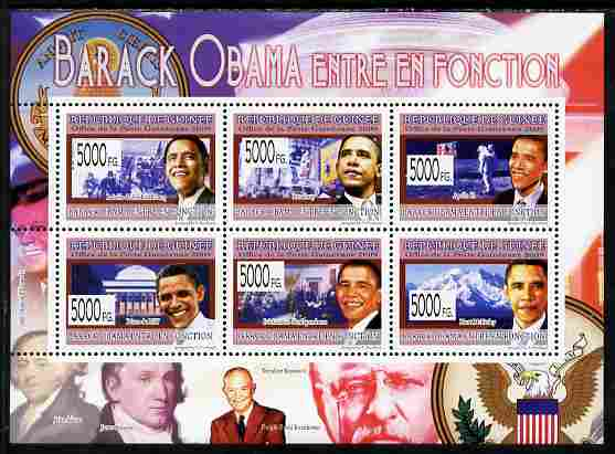 Guinea - Conakry 2009 Barack Obama perf sheetlet containing 6 values unmounted mint