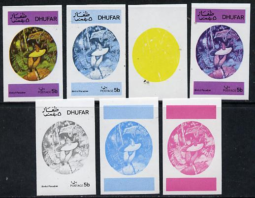 Dhufar 1973 Foreign & Exotic Birds 5b (Bird of Paradise) set of 7 imperf progressive colour proofs comprising the 4 individual colours plus 2, 3 and all 4-colour composit...