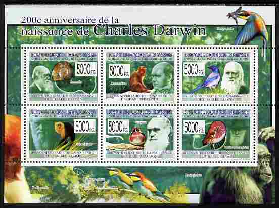 Guinea - Conakry 2009 200th Birth Anniversary of Charles Darwin #1 perf sheetlet containing 6 values unmounted mint