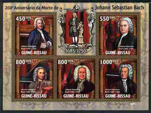 Guinea - Bissau 2010 260th death Anniversary of Bach perf sheetlet containing 5 values unmounted mint
