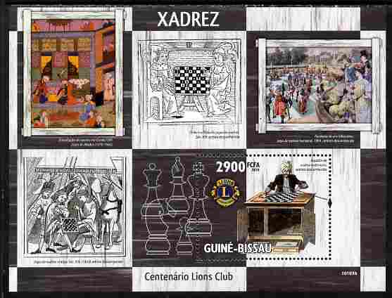 Guinea - Bissau 2010 Chess in Art with Lions Int Logo perf s/sheet unmounted mint