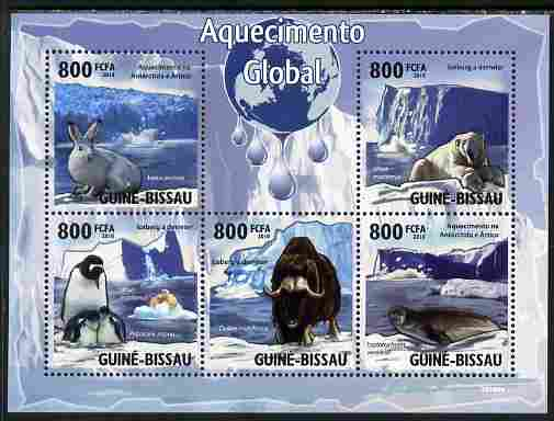 Guinea - Bissau 2010 Global Warming perf sheetlet containing 5 values unmounted mint, stamps on , stamps on  stamps on environment, stamps on  stamps on animals, stamps on  stamps on weather, stamps on  stamps on polar, stamps on  stamps on penguins, stamps on  stamps on bears, stamps on  stamps on rabbits, stamps on  stamps on bovine