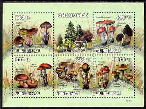 Guinea - Bissau 2010 Mushrooms perf sheetlet containing 5 values unmounted mint