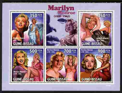 Guinea - Bissau 2010 Marilyn Monroe perf sheetlet containing 5 values unmounted mint