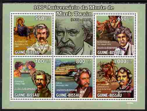 Guinea - Bissau 2010 100th death Anniversary of Mark Twain perf sheetlet containing 5 values unmounted mint