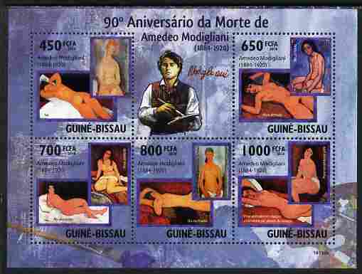 Guinea - Bissau 2010 90th death Anniversary of Modigliani perf sheetlet containing 5 values unmounted mint