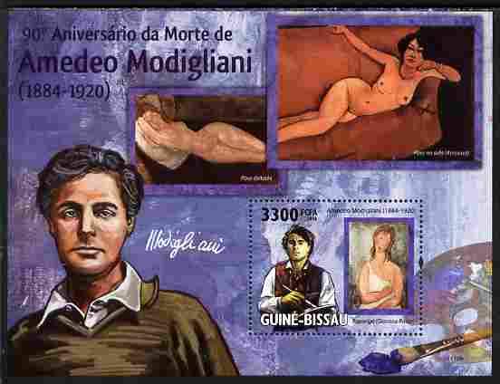 Guinea - Bissau 2010 90th death Anniversary of Modigliani perf s/sheet unmounted mint