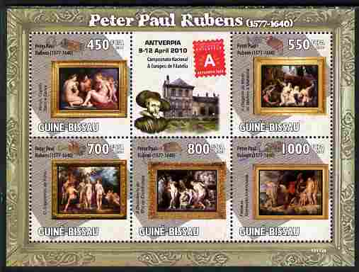 Guinea - Bissau 2010 Paintings by Rubens with Antverpia Stamp Exhibition Logo perf sheetlet containing 5 values unmounted mint