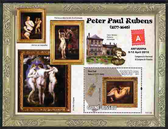 Guinea - Bissau 2010 Paintings by Rubens with Antverpia Stamp Exhibition Logo perf s/sheet unmounted mint