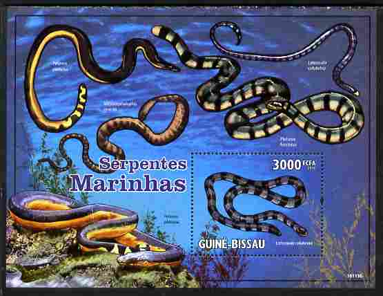 Guinea - Bissau 2010 Sea Snakes perf s/sheet unmounted mint