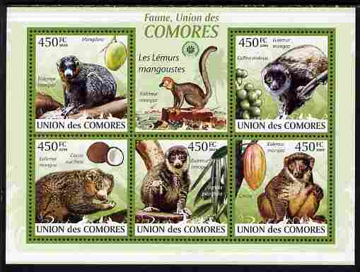 Comoro Islands 2009 Mongoose Lemur perf sheetlet containing 5 values unmounted mint Yv 1636-40