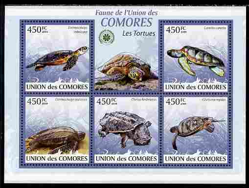 Comoro Islands 2009 Turtles perf sheetlet containing 5 values unmounted mint Yv 1641-45